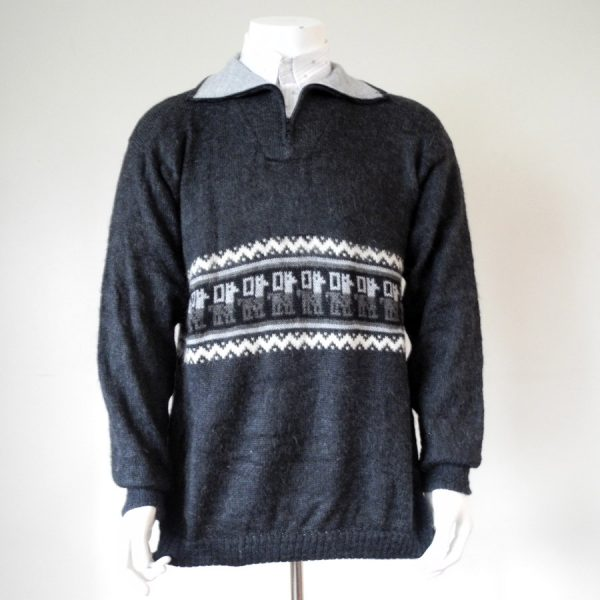 Men's Alpaca Zip Collar Jumper