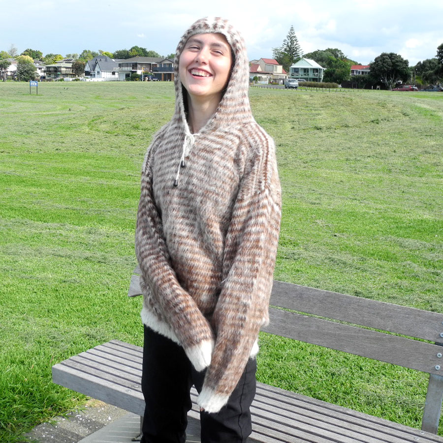 Alpaca Hand Knitted Hooded